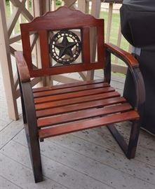 One of two outdoor chairs