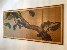 Vintage Hand Painted Byobu Screen