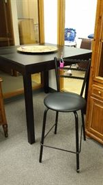 HIGH-TOP TABLE, TALL BAR STOOL, LOVELY LARGE BRASS DECORATOR PLATE....