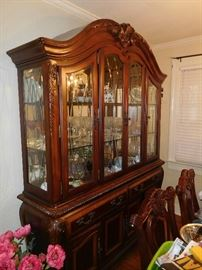 Spectacular lighted china cabinet from Haverty's