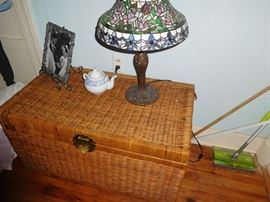 Wicker trunk & stained glass lamp
