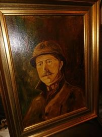 Antique oil painting of a soldier possible WW1
