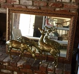 2 pairs of brass deer statues