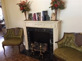 LOVELY VINTAGE FIREPLACE , 2 MATCHING CHAIRS, FLORAL ARRANGEMENTS, BOOKS, ETC.,