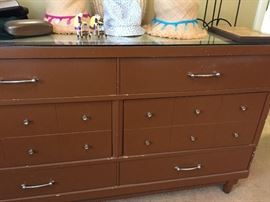 BEDROOM LONG DRESSER WITH GLASS ON TOP
