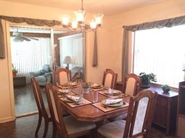 BEAUTIFUL DINING ROOM SET & BUFFET (SOLD SEPARATELY).  NICE DISHES & WINDOW TREATMENTS, ETC.,