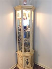 NICE SIZE LIGHTED CURIO CABINET (FILLED WITH COLLECTIBLES)