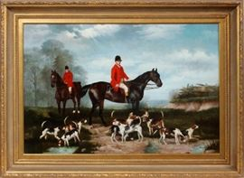 """Lot#2, TROY BERKE (AMER. 20TH C), SIGNED OIL ON CANVAS, H 24"""", W 36"""", ENGLISH FOX HUNT SCENE.Depicts a fox hunt scene with two mounted fox hunters dressed in red tunics and their beagle hunting dogs. Signed lower right """"Troy Burke"""". Gilt wood frame."""