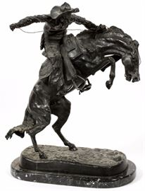 """Lot#15, AFTER FREDERIC REMINGTON, SIGNED, BRONZE SCULPTURE, H 22"""", W 19"""", """"BRONCO BUSTER""""Depicts a cowboy riding a bucking horse, mounted on a black marble base."""