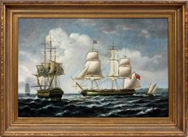 """Lot#3, ERIC NIELSEN, SIGNED OIL ON CANVAS, H 24"""", W 36"""", SAILING VESSELS ON OPEN SEAS.Oil on canvas, depicting sailing ships on open seas. Eric Nielsen signed lower right. Gilt wood frame."""