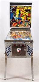 """Lot#24, D. GOTTLIEB & CO, SPIDERMAN PINBALL MACHINE, H 73"""", W 28"""", D 58""""D. Gottlieb & Co. """"Marvel's The Amazing Spiderman"""" pinball machine. Allows up to four players. """"25 cents per play,  $1.00 for 6 plays""""."""