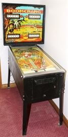 """Lot#23, BALLY BOOMERANG, 25 CENT, PINBALL MACHINE, FOUR PLAYERS, H 70"""", W 30 1/2"""", D 53""""Bally Boomerang four player pinball machine.  Plate inscribed: """"Three balls per player, 1 play 10 cents, deposit 2 nickels, three plays 25 cents"""".  Oliver Vending Co. Label."""