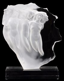 """Lot#36, FREDERICK HART, ACRYLIC SCULPTURE, #231/300, 1986, H 17"""" """"LIGHT WHISPERS""""Acrylic sculpture by Frederick Hart (Amer. 1943-1999). Entitled: """"Light Whispers"""", 17"""" H. mounted on clear acrylic rectangular base. Depicting nude female figures. Signed: """"FH"""" and dated 1986."""