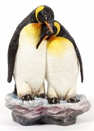 """Lot#43, CONNOISSEUR OF MALVERN ENGLAND, LIMITED EDITION, PORCELAIN FIGURINE, #6/250, H 8 1/4"""", """"AFFECTION""""Connoisseur limited edition porcelain figurine of two penguins entitled: """"Affection"""". Inscribed on underside: 'Connoisseur USA  Affection Produced by Bronte Fine Bone China Made In England 6/250"""""""