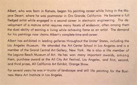 "Bio on frame back - Karl Albert - Oil Painting on Masonite - 'Verbena Carpet'  1979 - Original frame - 24""x12"" : 1,650.00"