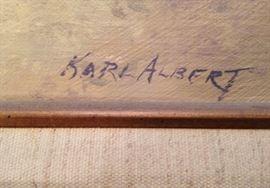 """Signature Detail - Karl Albert - Oil Painting on Masonite - 'Verbena Carpet'  1979 - Original frame - 24""""x12"""" : 1,650.00"""