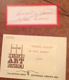 "Tags on frame back - Karl Albert - Oil Painting on Masonite - 'Verbena Carpet'  1979 - Original frame - 24""x12"" : 1,650.00"