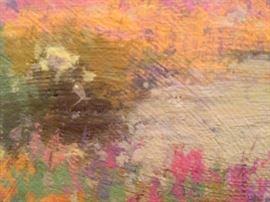 "Brush stroke detail - Karl Albert - Oil Painting on Masonite - 'Verbena Carpet'  1979 - Original frame - 24""x12"" : 1,650.00"