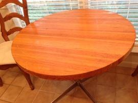 Retro 70'S Butcher Block Table With Chrome Pedestal Base   165.00