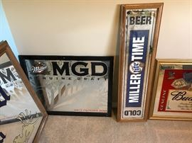 Variety of MGD Miller Lite Signs