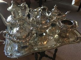 Antique Silver plate serving tea set