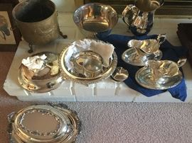 Antique Silver and silver plate serving pieces