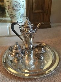 Antique Silver and silver plate art nouveay coffee serving set