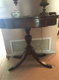 antique side table, antique lamp
