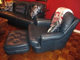 leather chair and ottoman - Navy blue