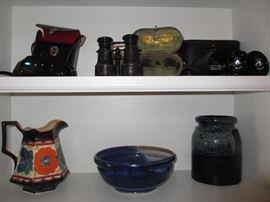 vintage German field glasses, Persianware, blue pottery