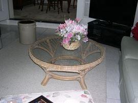 Wicker Coffee Table w/Glass Top