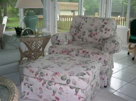 Floral Over Stuffed Chair & Ottoman