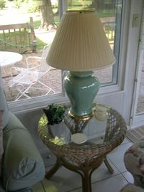 (2) Wicker Side Tables w/ Glass Top***Pair of Lamps