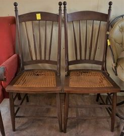 Antique caned seat chairs