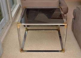 Mod Chrome / Brass End Table with Smoky Glass