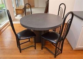 Modern Gray Kitchen Table with 4 Black Metal Chairs