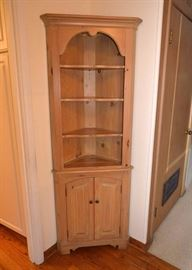 Pickled Wood Corner Cabinet / Hutch