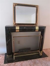 Faux marble fireplace and screen