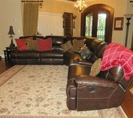 Large Brown Leather Sectional Sofa with Duel Recliners
