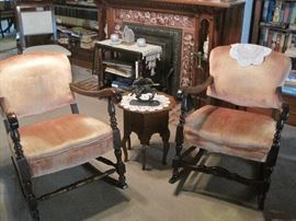 pair of rocking chairs & small stands