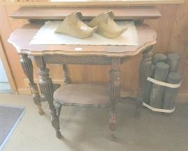 Side Table with Antique Spanish Conquistador Brass Stirrup Shoes