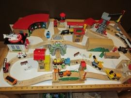 BRIO TABLE - TRACK - AND BINS FULL OF ACCESSORIES ALL SOLD AS A SET.