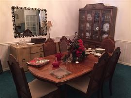 Dining Room Table and six chairs,  China Cabinet,  Mirror,  Mid Century Modern Buffet