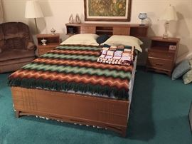 King Size Mid century modern Bookcase Bed with matching end tables