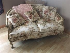 French Provincial floral loveseat