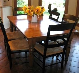nice wood farm table and 6 chairs