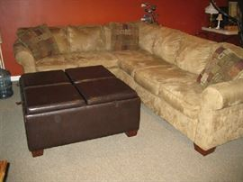micro suede pit sofa and large storage ottoman