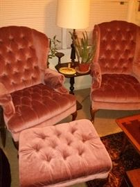 Vintage Champagne Velvet Queen Anne Chairs and Footstool $400 (50% off)