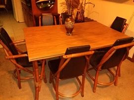 Vintage Pecan Top and Bamboo Dining Table with 6 Chairs $625( 50% off)