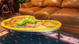 Kidney Coffee Table with Royal Haegar Candy Dish and Leather Sofa